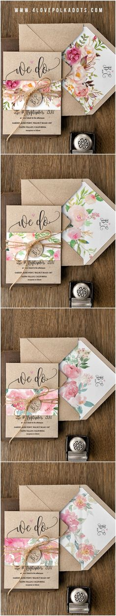 Spring wedding couples: take a look at this beautiful floral eco wedding stationery suite by Rustic Invitations, Floral Wedding Invitations, Wedding Stationary, Wedding Invitation Cards, Invitation Design, Wedding Cards, Wedding Planner, Wedding Favors, Invitation Ideas
