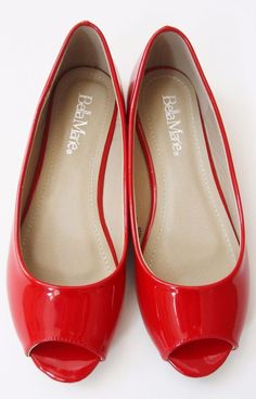 328bc7e44b64 Women s Simple Lightweight Red Faux Patent Peep Toe Slip On Ballet Flats  Monet-1