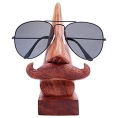 Handmade Wooden Nose Shaped Spectacle Specs Eyeglass Holder Stand with Moustache Eyeglass Holder Stand, Nose Shapes, Glass Holders, Inexpensive Gift, Grandpa Gifts, Wooden Crafts, White Elephant Gifts, Elephant Eye, Gifts For Coworkers