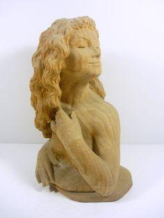 "Nude Erotic  Female Bust 10"", Vintage  Woddenware Carved Figurine !"