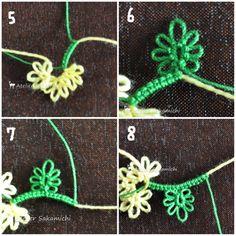 さぁ、お待たせいたしました「春の黄色祭り♪」始めますよ~♥『ミモザのミニリース』 さかみち オリジナルです。用意する物は、シャトルに巻いた2色の糸、はさみ...