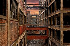 the abandoned Packard Plant in Detroit, largest abandoned factory in the world.