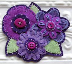 Embroidered Felt Flower Brooch Collage - Lilliana