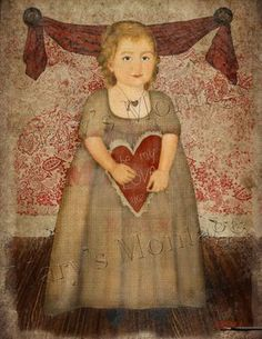 i love this sweet girlie. Naive style of early American folk art portrait. Use to frame, cardmaking, decoupage etc. Primitive Painting, Primitive Folk Art, Country Primitive, Primitive Decor, Early American, American Art, Primitive Pictures, Country Art, Naive Art