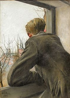 Laurits Andersen Ring (1854-1933), Sønnen Ole kigger ud af vinduet (Ole's son looking out of the window), 1930. Randers Art Museum.