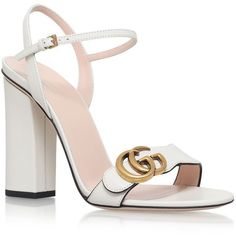 Gucci Marmont Sandals 105 ($605) ❤ liked on Polyvore featuring shoes, sandals, real leather shoes, antique shoes, block heel sandals, white shoes and toe strap sandals