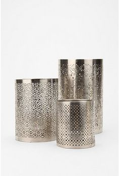 Punched metal tealight shades