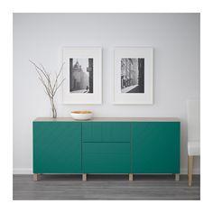 BESTÅ Storage combination with drawers - walnut effect light gray/Hallstavik blue-green, drawer runner, soft-closing - IKEA