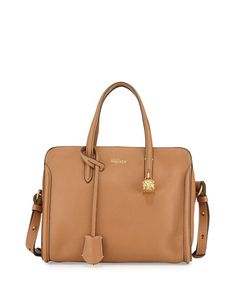Alexander McQueen  Padlock Mini Zip-Around Tote Bag, Brown