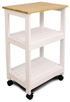 Amazon.com: Catskill Craftsmen Utility Kitchen Cart/Microwave Stand, White Base with Natural Top Catskill Craftsmen, an ideal kitchen coffee cart #AmazonPrime