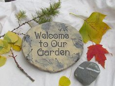 """""""Welcome to our Garden"""" garden stones by POEMSTONES on Etsy.com"""
