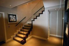 Stairway lighting Ideas with spectacular and moderniInteriors, Nautical stairway, Sky Loft Stair Lights, Outdoors Stair Lights, Contemporary Stair Lighting. Glass Stairs, Wooden Stairs, Glass Railing, Stair Railing, Cantilever Stairs, Stair Risers, Stair Steps, Modern Basement, Basement Stairs