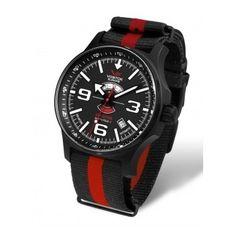 Reloj Vostok con correa de nylon estilo NATO de rayas rojas y negras. Reloj sumergible 200 metros, para no tener que quitartelo nunca  http://www.tutunca.es/reloj-carga-automatica-vostok-nylon-rayas-rojo-y-negro-north-pole