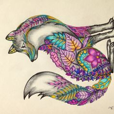 Fox, enchanted forest coloring book, secret garden, adult coloring, purple, beautiful, colorful,