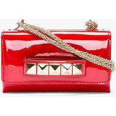 VALENTINO Red Patent Leather & Pyramid Stud Va Va Voum Bag
