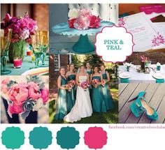 Hot pink & Teal-Wedding Colour Scheme – These were my wedding colors! Pink Wedding Colors, Wedding Color Schemes, Colour Schemes, Color Palettes, Color Trends, Color Combos, Wedding Flowers, Trendy Wedding, Our Wedding