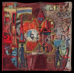 """16"""" x 16""""; Cotton, silk, paper; Quilted, pieced, appliqued, drawn, stitched By Kay Khan """"to carry away densely into flame"""" (KK)"""