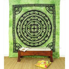 QUEEN GREEN INDIAN HIPPIE MANDALA ELEPHANT TAPESTRY WALL HANGING Picnic Bohemian