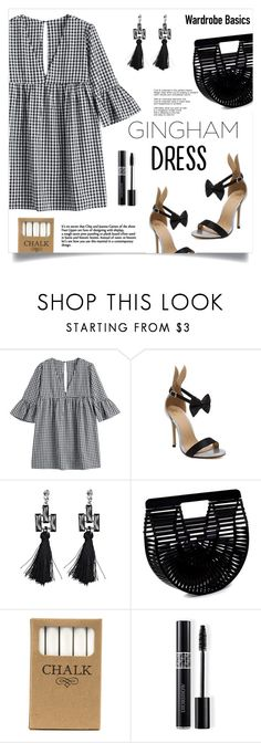 """""""Gingham Dress"""" by mahafromkailash ❤ liked on Polyvore featuring Cult Gaia, Jayson Home, Christian Dior, Heels, blackandwhite, gingham, under100 and dressunder100"""