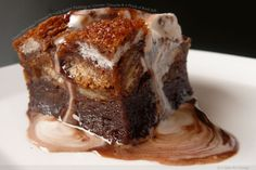 gooey chocolate croissant bread and butter pudding with creamy ganache and a pinch of rock salt.