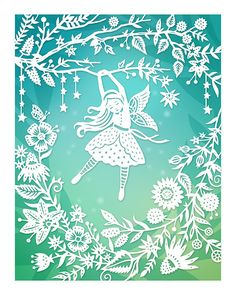 8x10 Print Flower Fairy Original Papercut Illustration