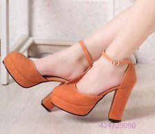 Womens Lady Rough Heels Sandals Strap Platform Metal Buckle Pumps US Size Z714