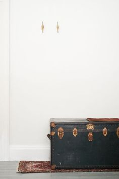 Black leather shipping trunk/steamer trunk by klinker on Etsy, $195.00 (small)