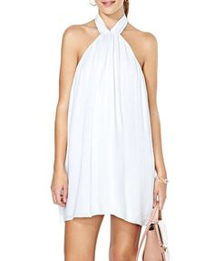 Fresh Style Off-the-shoulder White Halter Dress