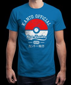 """""""Kanto Gym Leader"""" is today's £8/€10/$12 tee for 24 hours only on www.Qwertee.com Pin this for a chance to win a FREE TEE this weekend. Follow us on pinterest.com/qwertee for a second! Thanks:)"""