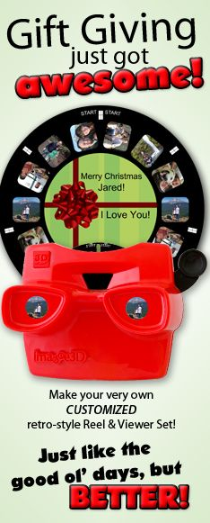 Awesome retro-style Reel and Viewer with YOUR photos! A perfect gift for someone who has everything or as a unique flashback keepsake for yourself! The ideas are endless!