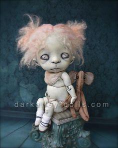 Little Girl with a Teddy Elephant. Gothic Art Doll. BJD. Clover by Dark Alley Dolls.