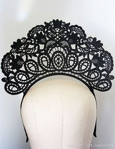 Black Lace Crown Art Nouveau Fascinator by Missie77artJewellery