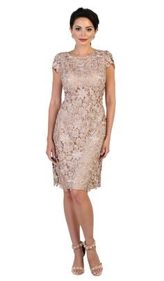 2a52c5f8217 Buy the MQ1488 Floral Lace Overlaid Sheath Dress by May Queen at  CoutureCandy.com