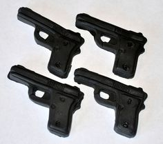 Hand Gun Fondant Toppers for Cupcakes Cake by LadyCupcakesCorner, $19.95