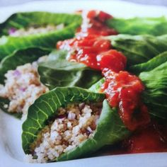 High Protein Lettuce/Cabbage wraps: can wrap this filling into a leafy green: kale, cabbage, collards, or bib lettuce.  Your choice-high in protein, great for healing and low in fat! Use in season/local tomatoes www.altmandental.com
