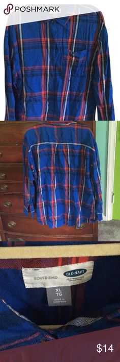 Old navy boyfriend button down top Red and blue plaid Old Navy Tops Button Down Shirts