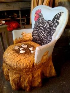 more painted chairs. Cute accent chair for a kitchen, Painted Chairs, Hand Painted Furniture, Funky Furniture, Unique Furniture, Furniture Makeover, Repurposed Furniture, Office Furniture, Home Decor Accessories, Decorative Accessories
