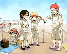 Tags: Anime, School, ONE PIECE, Monkey D. Luffy, Freckles, Straw Hat, Portgas D. Ace