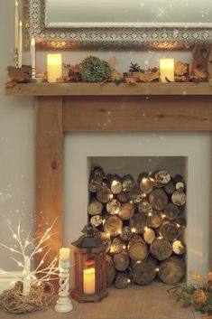 Blankets are optional, but highly recommended… shop cosy living! Fireplace Filler, Empty Fireplace Ideas, Cosy Fireplace, Living Room Decor Fireplace, Candles In Fireplace, Fake Fireplace, Fireplace Design, My Living Room, Decorative Fireplace