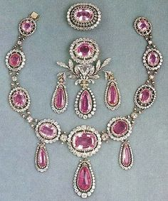 The Parure of Maria Pavlovna with diamonds and Brazilian pink topaz ~  These jewelry was made by order of Emperor Pavel I on the occasion of marriage of his daughter Maria Pavlovna and Charles Frederick, Grand Duke of Saxe-Weimar-Eisenach. These jewels were eventually inherited by Queen Victoria of Sweden, wife of King Gustav V ~