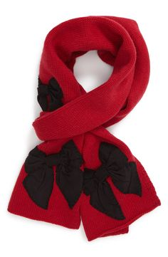 Crushing on this red Kate Spade scarf. The bows are so cute. Bow Scarf, How To Wear Scarves, Winter Wear, All About Fashion, Scarf Styles, Dress Me Up, Winter Fashion, Holiday Fashion, Kate Spade