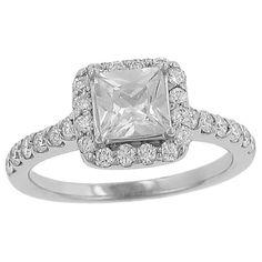 """Square """"Halo"""" Style 28 Stone Round prong Set Diamond Engagement Ring"""