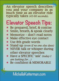 How to write a elevator speech
