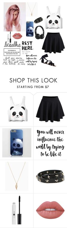 """""""Panda Lover"""" by blondypup ❤ liked on Polyvore featuring WithChic, RED Valentino, Lime Crime and Beats by Dr. Dre"""