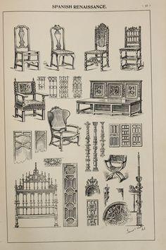 Spanish Renaissance Furniture Designs, Large Antique Black & White Print, Interior Design, Arts and Crafts