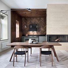 7 Dining Table Sets for the Best Minimalist Apartments Right Now Dining Room Everyone has different comfort resolutions. Some people believe in the best concept of interior design that can bring comfort to a residence that has . Zeitgenössisches Apartment, Apartment Design, Light Hardwood Floors, Brown Furniture, House Built, Kitchen Interior, Kitchen Decor, Building A House, Dining Table