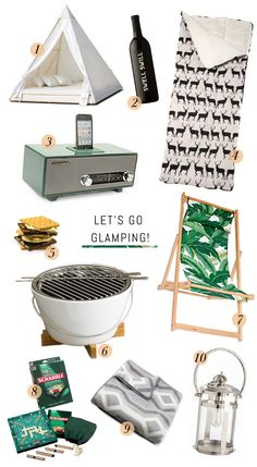 glamping gear - a bit much, even for glamping, but some of these items look tempting...