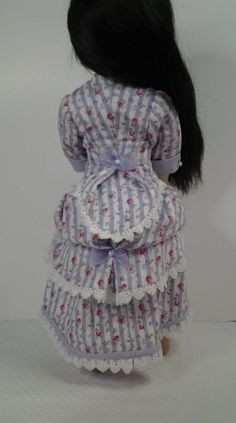 Victorian late 1800 A Girl for all time doll bustle dress Organza Ribbon, Ribbon Bows, Cotton Lace, Cotton Fabric, Bustle Skirt, Striped Fabrics, Fitted Bodice, Girl Dolls, American Girl