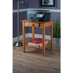 Wood Office Printer Utility End Table Or Night Stand With Drawer And 1 Shelf #Generic #Contemporary