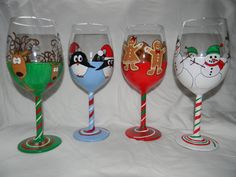 Holiday Hand Painted Wine Glasses (Set of Four). $42.00, via Etsy.